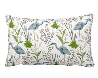 "OUTDOOR Blue Heron Throw Pillow or Cover, 14 x 20"" Lumbar/Oblong Pillows/Covers, Teal Green Bird/Birds Naturalist Print/Pattern Toile/Nature"