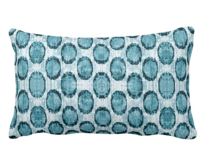 "OUTDOOR - READY 2 SHIP Ikat Ovals Print Throw Pillow or Cover 14 x 20"" Lumbar, Teal Blue/Green Geometric/Circles/Dots/Dot/Geo/Polka Pattern"