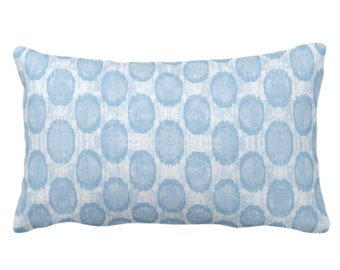 "OUTDOOR Ikat Ovals Print Throw Pillow or Cover 14 x 20"" Lumbar Pillows/Covers, Sky/Light Blue Geometric/Circles/Dots/Dot/Geo/Polka Pattern"