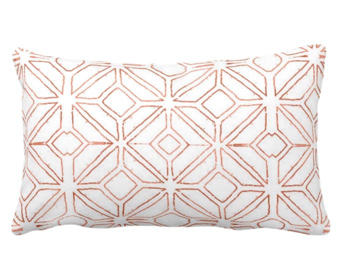 "OUTDOOR Tribal Trellis Throw Pillow/Cover, Burnt Orange/White 14 x 20"" Lumbar Pillows/Covers, Geo/Geometric/Diamond/Triangle Print/Pattern"