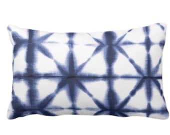 "Starburst Geo Print Throw Pillow or Cover, Deep Indigo/White 14 x 20"" Lumbar Pillows/Covers, Geometric/Modern/Geo/Lines, Dark Ink/Navy Blue"