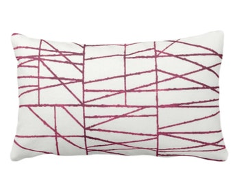 """OUTDOOR Plum Geo Print Throw Pillow or Cover 14 x 20"""" Lumbar/Oblong Pillows/Covers, Dark Wine/Red/Purple Painted Geometric/Abstract/Lines"""