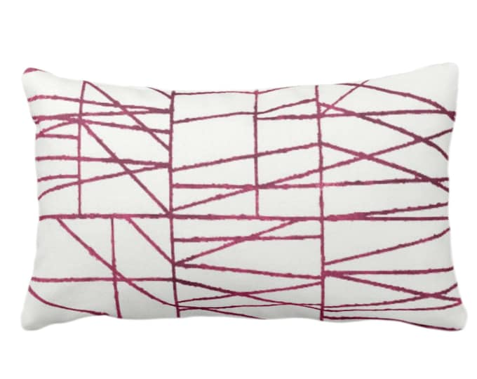 "OUTDOOR Plum Geo Print Throw Pillow or Cover 14 x 20"" Lumbar/Oblong Pillows/Covers, Dark Wine/Red/Purple Painted Geometric/Abstract/Lines"