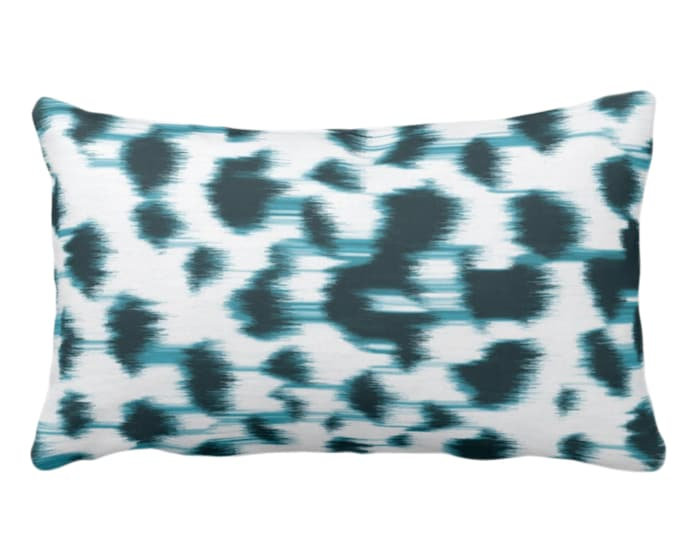 """OUTDOOR Ikat Abstract Animal Print Throw Pillow or Cover 14 x 20"""" Lumbar Pillows/Covers, Teal Blue/White Spots/Spotted/Dots/ Painted Pattern"""