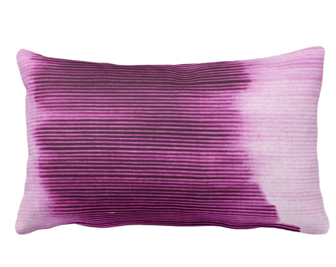 "OUTDOOR Bright Plum Ombre Stripe Throw Pillow or Cover 14 x 20"" Lumbar Pillows/Covers, Purple Geometric/Print/Design/Striped/Stripes/Lines"