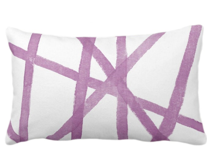 """Hand-Painted Lines Print Throw Pillow or Cover, White/Lavender 14 x 20"""" Lumbar Pillows/Covers, Purple Abstract/Geometric/Geo/Modern Pattern"""