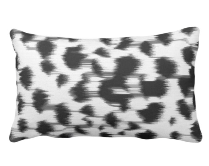"Ikat Abstract Animal Print Throw Pillow or Cover 14 x 20"" Lumbar Pillows/Covers, Black/Gray/White Spots/Spotted/Dots/Dot/Geo/Painted Pattern"