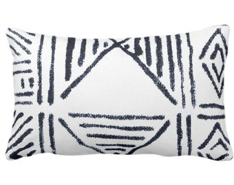"""OUTDOOR Mud Cloth Print Throw Pillow or Cover, White/Navy Blue 14 x 20"""" Lumbar Pillows/Covers, Mudcloth/Boho/Tribal/Geometric/Geo Pattern"""