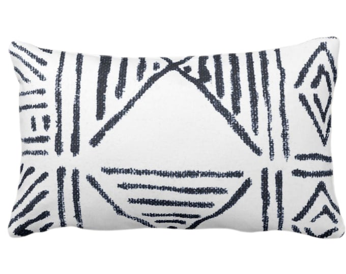 "OUTDOOR Mud Cloth Print Throw Pillow or Cover, White/Navy Blue 14 x 20"" Lumbar Pillows/Covers, Mudcloth/Boho/Tribal/Geometric/Geo Pattern"