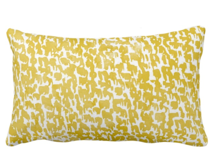 """Horseradish Speckled Print Throw Pillow or Cover 14 x 20"""" Lumbar Pillows/Covers, Mustard Yellow Abstract/Marbled/Spots/Dots/Painted/Dashes"""
