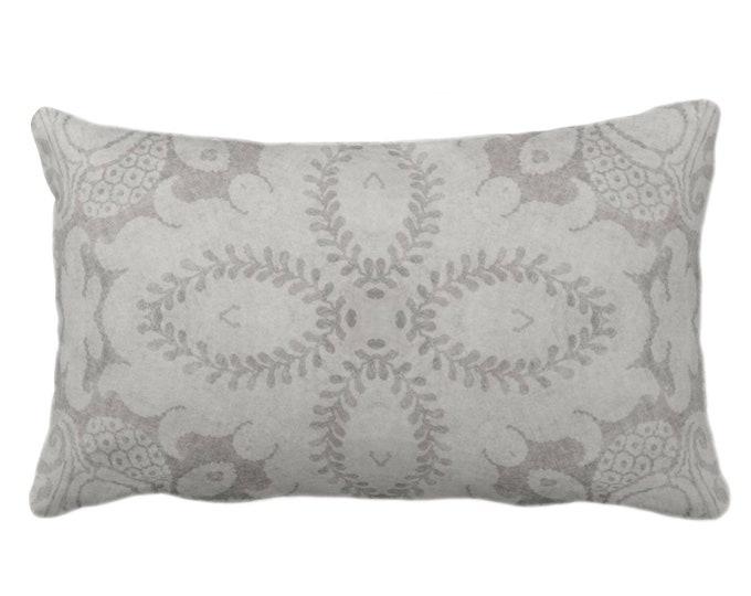 "Nouveau Damask Throw Pillow or Cover, Putty Gray 14 x 20"" Lumbar/Oblong Pillows/Covers Warm Grey, Floral/Batik/Geo/Boho/Tribal Pattern"