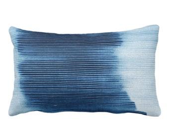 "Indigo Ombre Stripe Throw Pillow or Cover 14 x 20"" Lumbar/Oblong Pillows/Covers, Blue Geometric/Art/Print/Design/Striped/Stripes/Geo/Lines"