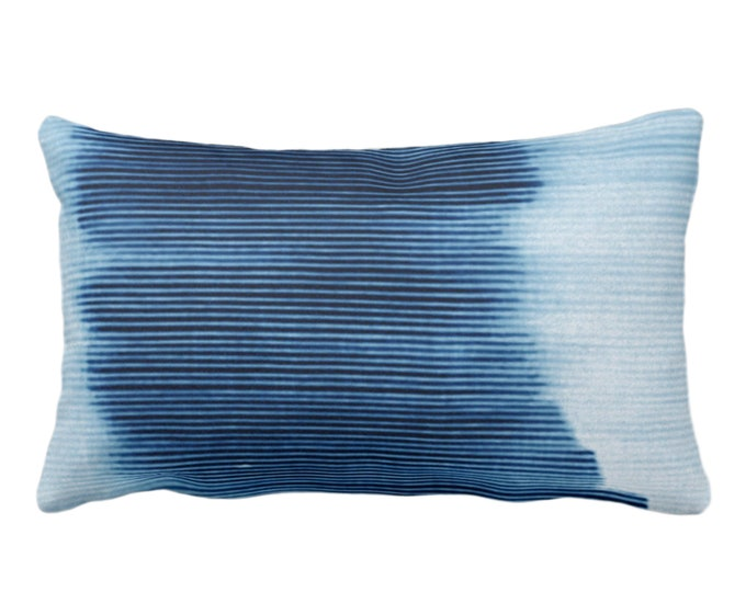 "Indigo Ombre Stripe Throw Pillow or Cover 14 x 20"" Lumbar/Oblong Pillows/Covers, Blue Geometric/Art/Print/Design/Striped/Stripes/Geo/Lines"