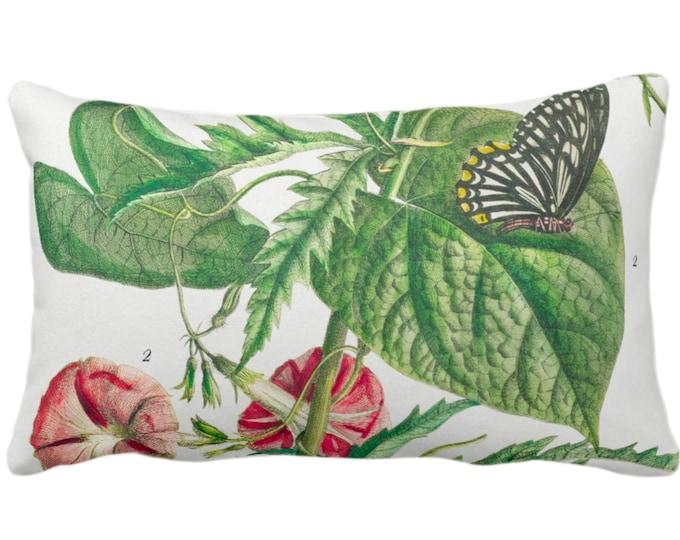 "Vintage Botanical Trumpet Flowers & Butterflies Throw Pillow/Cover, 14 x 20"" Lumbar Pillows/Covers, Nature/Plants/Floral Green/Pink Print"