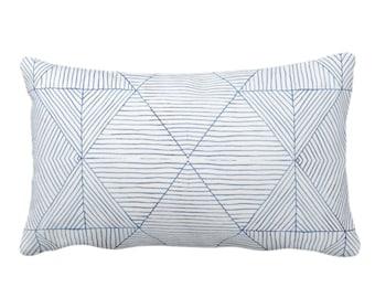 "OUTDOOR Fine Line Geo Print Throw Pillow or Cover 14 x 20"" Lumbar Pillows/Covers, Navy/Indigo Blue/White Tribal Geometric/Diamond/Lined"