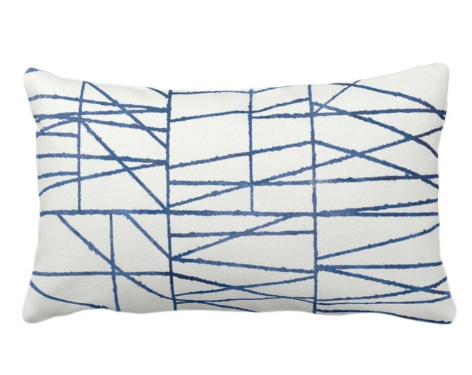 """Navy Broken Geo Print Throw Pillow or Cover 14 x 20"""" Lumbar/Oblong Pillows or Covers, Dark Blue/White Painted Geometric/Abstract/Lines/Lined"""