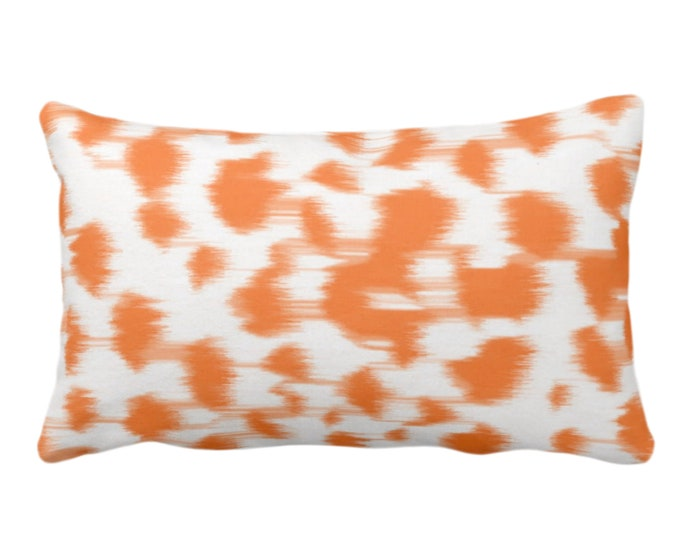 """OUTDOOR Ikat Abstract Animal Print Throw Pillow/Cover 14 x 20"""" Lumbar Pillows/Covers, Bright Orange/White Spots/Spotted/Dots/Painted Pattern"""