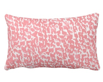 """OUTDOOR Coral Speckled Print Throw Pillow or Cover 14 x 20"""" Lumbar Pillows or Covers, Pink/Orange/White Abstract/Marbled/Spots/Dots/Dashes"""
