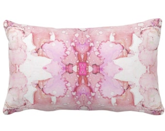 """Mirrored Watercolor Throw Pillow or Cover 14 x 20"""" Lumbar Pillows/Covers, Pink/Fuchsia/Purple Abstract Modern/Minimal Painted Print/Design"""