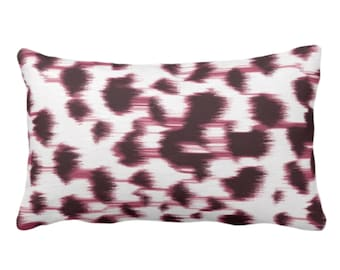 """OUTDOOR Ikat Abstract Animal Print Throw Pillow or Cover 14 x 20"""" Lumbar Pillows/Covers, Plum Wine/White Spots/Spotted/Dots/Painted Pattern"""