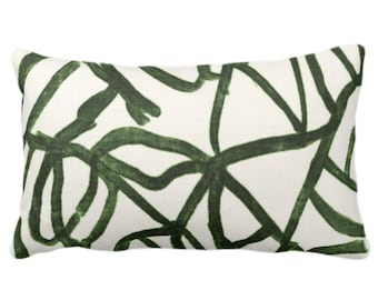 """READY 2 SHIP Abstract Print Throw Pillow/Cover, Kale/Off-White 14 x 20"""" Lumbar Pillows/Covers, Painted Dark Green Abstract/Geometric/Modern"""