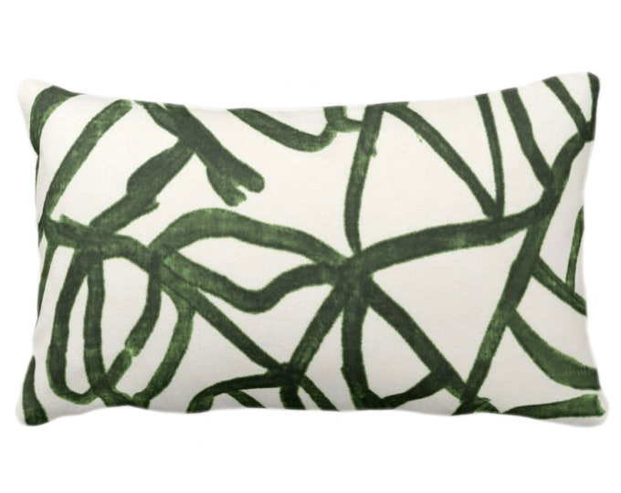 """Abstract Print Throw Pillow or Cover, Kale/Off-White 14 x 20"""" Lumbar Pillows/Covers, Painted Dark Green Abstract/Geometric/Geo/Modern/Lines"""