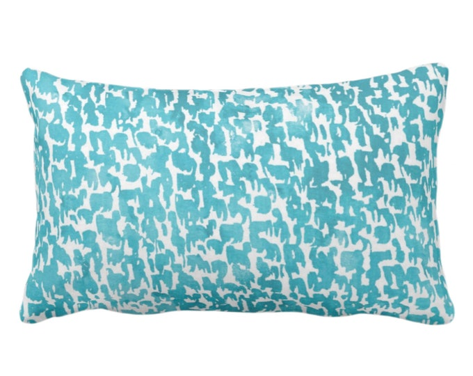 "OUTDOOR Teal Speckled Print Throw Pillow or Cover 14 x 20"" Lumbar Pillows/Covers Aqua/Turquoise Abstract/Marbled/Spots/Dots/Painted/Dashes"