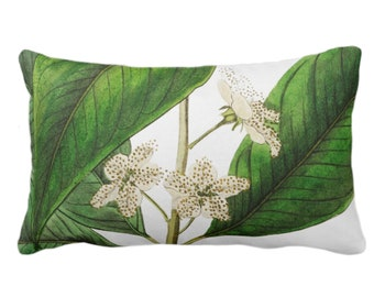 """OUTDOOR Ready 2 Ship - Vintage Botanical White Flowers Throw Pillow Cover, 14 x 20"""" Lumbar Covers, Tropical Green Leaves/Floral/Flower Print"""