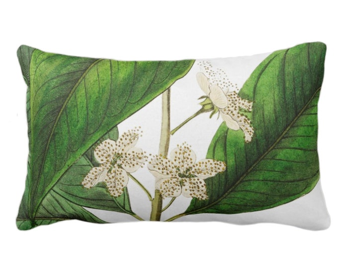 "OUTDOOR Vintage Botanical White Flowers Throw Pillow or Cover, 14 x 20"" Lumbar Pillows/Covers, Tropical Green Leaves/Floral/Flower Print"