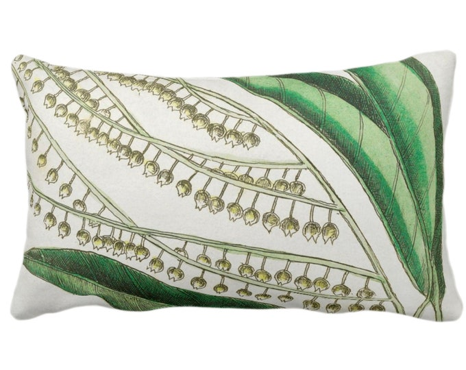 """Vintage Botanical Lily of the Valley Throw Pillow or Cover, 14 x 20"""" Lumbar Pillows/Covers, Nature/Plants/Greenery/Leaves/Floral Print"""