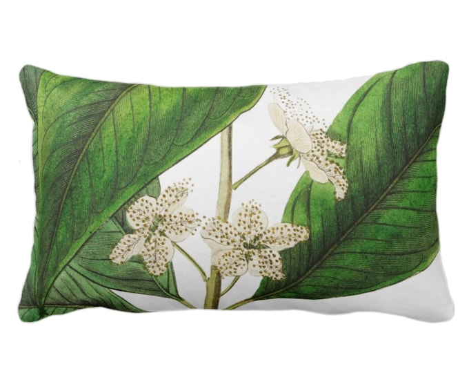 "Vintage Botanical White Flowers Throw Pillow or Cover, 14 x 20"" Lumbar Pillows/Covers, Tropical Green Leaves/Floral/Flower Print/Pattern"