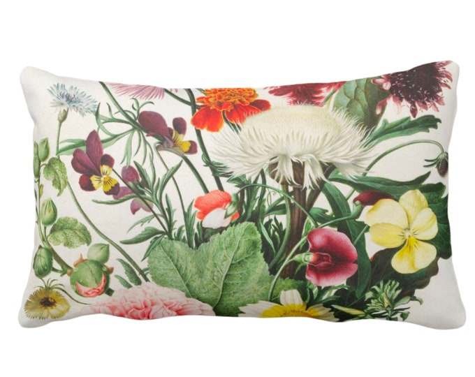 "OUTDOOR Vintage Botanical Throw Pillow or Cover 14 x 20"" Lumbar Pillows/Covers, Colorful Purple/Yellow/Orange/Green Flowers/Floral Print"