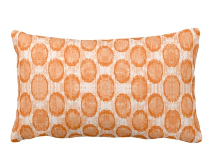 "OUTDOOR Ikat Ovals Print Throw Pillow or Cover 14 x 20"" Lumba Pillows/Covers, Canteloupe Orange Geometric/Circles/Dots/Dot/Geo/Polka Pattern"