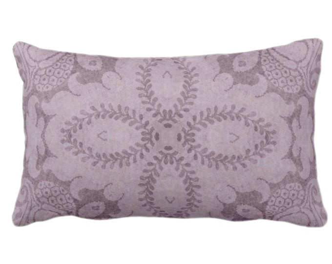 "Nouveau Damask Throw Pillow or Cover, Dusty Plum 14 x 20"" Lumbar/Oblong Pillows/Covers Deep Purple, Floral/Batik/Geo/Boho/Tribal Pattern"