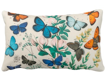 """READY 2 SHIP Vintage Butterflies Throw Pillow Cover 14 x 20"""" Lumbar, Colorful Teal/Turquoise/Orange/Green Butterfly Floral Print/Pattern"""