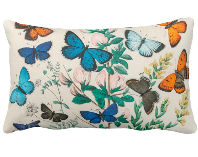 "Vintage Butterflies Throw Pillow or Cover 14 x 20"" Lumbar Pillows/Covers Colorful Teal/Turquoise/Orange/Green Butterfly Floral Print/Pattern"