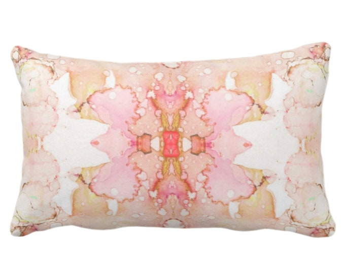 "Mirrored Watercolor Throw Pillow or Cover 14 x 20"" Lumbar Pillows/Covers, Peach/Pink/Orange/Coral Abstract Modern/Minimal Painted Print"