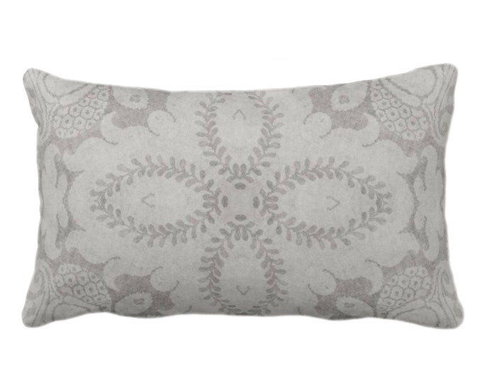 "OUTDOOR Nouveau Damask Throw Pillow or Cover, Putty Gray 14 x 20"" Lumbar/Oblong Pillows/Covers Warm Grey, Floral/Batik/Boho/Tribal Pattern"