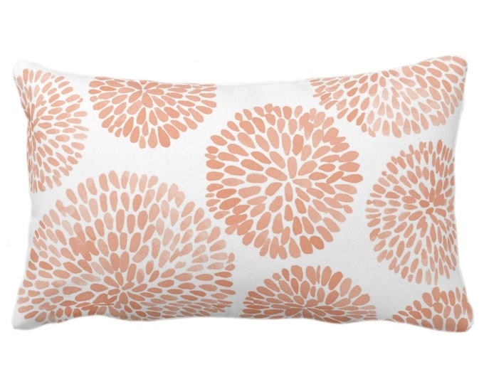 """OUTDOOR Watercolor Chrysanthemum Throw Pillow/Cover Apricot/White 14 x 20"""" Lumbar Pillows/Covers, Orange Abstract/Modern/Floral/Flower Print"""