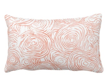"OUTDOOR Watercolor Faux Bois Throw Pillow or Cover, Dusty Terracotta 14 x 20"" Lumbar Pillows or Covers Coral, Painted Modern/Swirl/Geo Print"