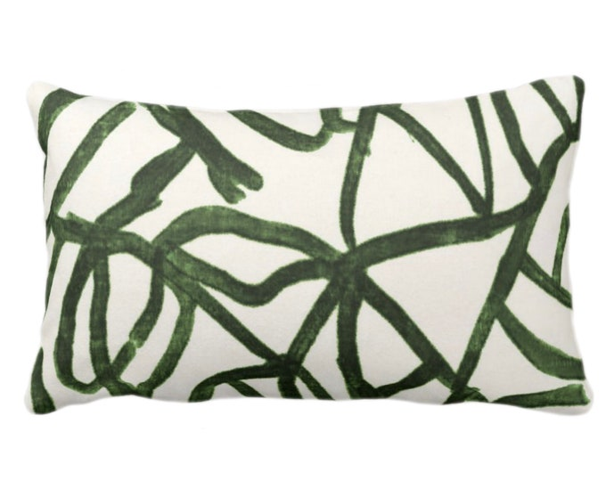 """OUTDOOR - READY 2 SHIP Abstract Throw Pillow or Cover, Kale/Off-White 14 x 20"""" Lumbar Pillows/Covers Print Dark Green Abstract Geometric/Geo"""