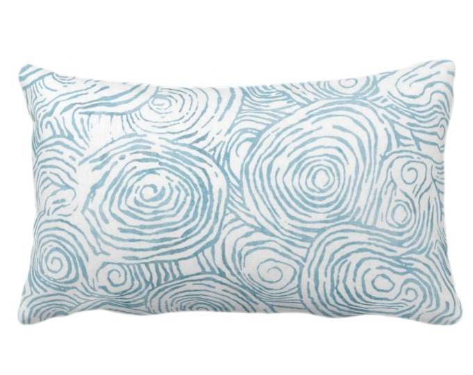 """OUTDOOR Watercolor Faux Bois Throw Pillow or Cover, Dusty Aqua 14 x 20"""" Lumbar Pillows/Covers Blue/Green, Painted Modern/Geometric/Geo Print"""