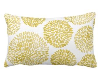 "OUTDOOR Watercolor Chrysanthemum Throw Pillow/Cover Dijon/White 14 x 20"" Lumbar Pillows/Covers, Mustard Abstract/Modern/Floral/Flower Print"