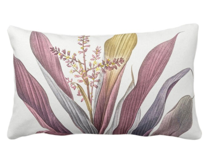 """OUTDOOR Vintage Botanical Purple Bromeliad Throw Pillow or Cover, 14 x 20"""" Lumbar Pillows/Covers, Floral/Leaves/Nature/Plant/Plants Print"""