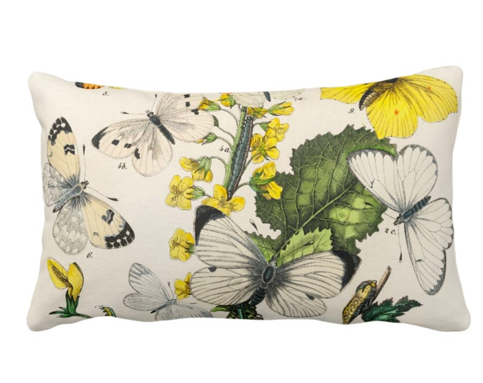 """OUTDOOR Vintage Butterflies Throw Pillow or Cover 14 x 20"""" Lumbar Pillows/Covers, Colorful Yellow/White/Green Butterfly Floral Print/Pattern"""