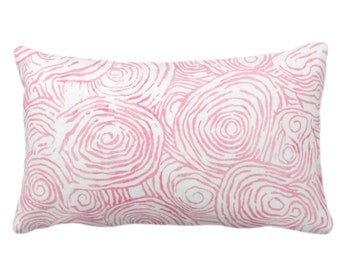 "OUTDOOR Watercolor Faux Bois Throw Pillow or Cover, Pink 14 x 20"" Lumbar Pillows or Covers, Light/Bright Painted Modern/Swirl/Geo Print"