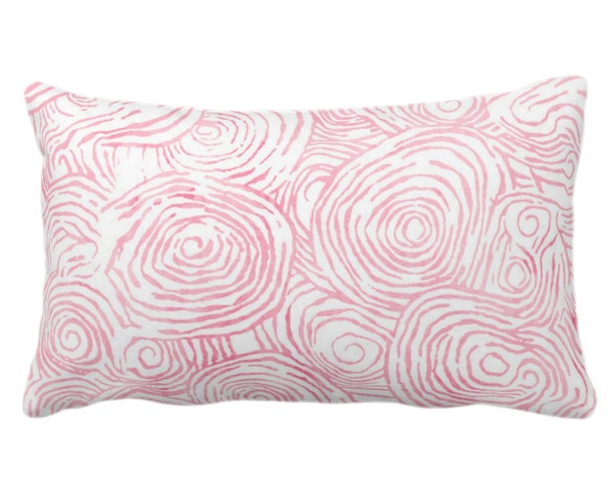 """OUTDOOR Watercolor Faux Bois Throw Pillow or Cover, Pink 14 x 20"""" Lumbar Pillows or Covers, Light/Bright Painted Modern/Swirl/Geo Print"""