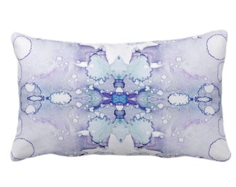 """OUTDOOR Mirrored Watercolor Throw Pillow or Cover 14 x 20"""" Lumbar Pillows/Covers Abstract Modern/Minimal Lilac Purple/Gray/Aqua Print/Design"""