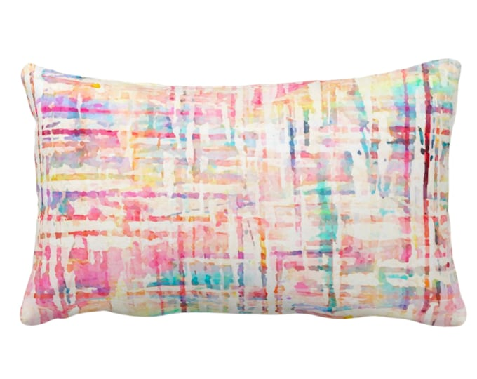 """SALE/READY 2 SHIP Watercolor Tweed Throw Pillow/Cover, Multi-Colored Geometric Print 14 x 20"""" Lumbar Pillows/Covers, Abstract/Lines Pattern"""