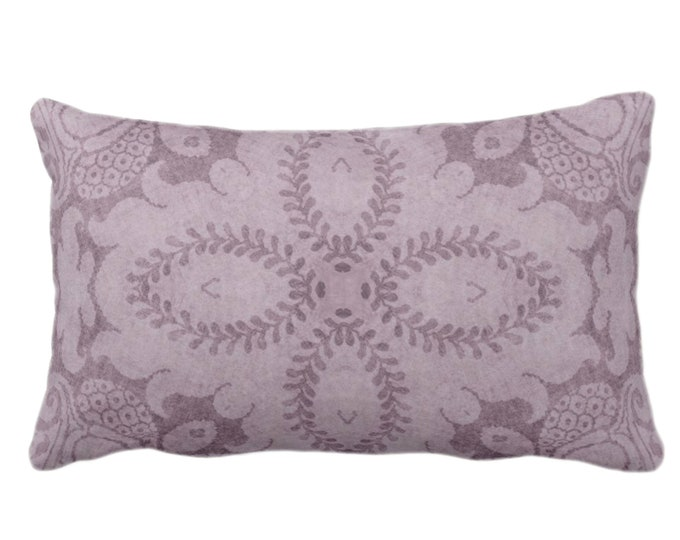 "OUTDOOR Nouveau Damask Throw Pillow or Cover, Dusty Plum 14 x 20"" Lumbar/Oblong Pillows/Covers Deep Purple, Floral/Batik/Boho/Tribal Pattern"